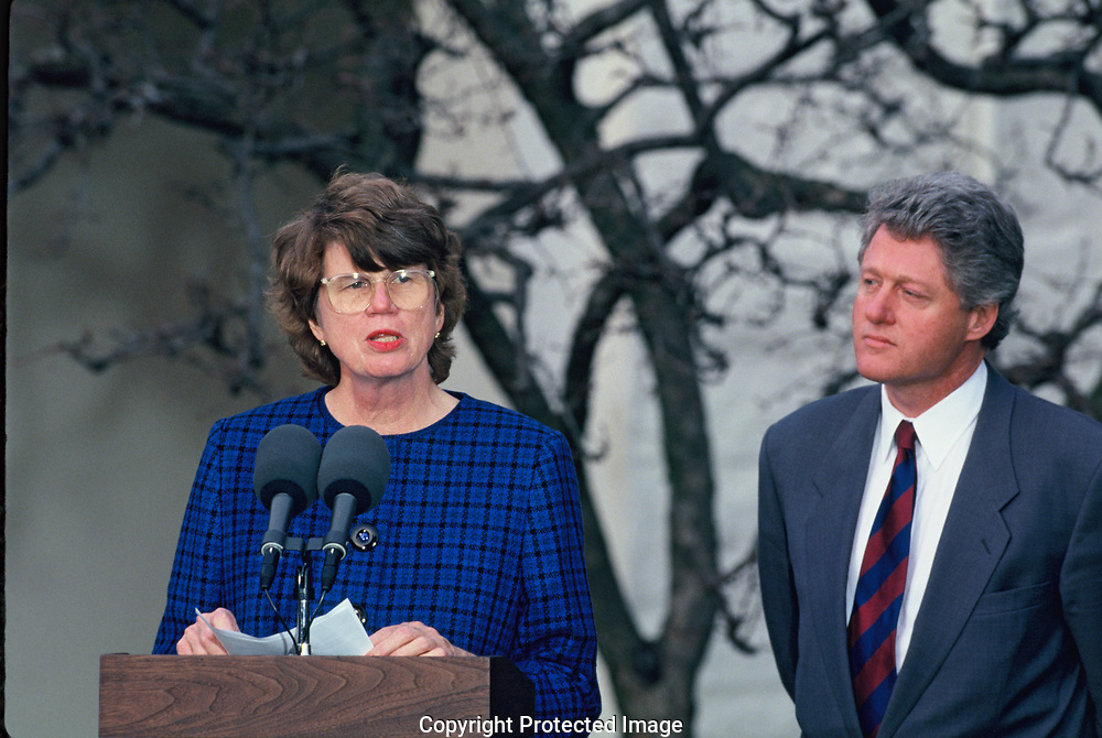 Washington, DC.  1993/02/11: President William Jefferson Clinton announces his intent to nominate Janet Reno as Attorney General.  The announcement was made in the Rose Garden of the White House<br /><br />Photograph by Dennis Brack