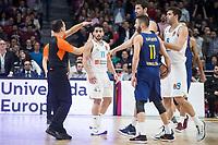 Real Madrid Facundo Campazzo and Juan Carlos Navarro and FC Barcelona Lassa XXX during Turkish Airlines Euroleague match between Real Madrid and FC Barcelona Lassa at Wizink Center in Madrid, Spain. December 14, 2017. (ALTERPHOTOS/Borja B.Hojas)