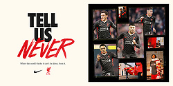 """LIVERPOOL, ENGLAND - Friday, September 11, 2020: A promotional poster of Liverpool's new Nike third kit for the 2020/21 season. LFC say """"it's design is heavily influenced by the array of chequered flags and banners that decorate the Kop each home game during European competitions."""" (Credit: ©Liverpool FC)"""