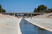 The Los Angeles River running through Reseda in the San Fernando Valley, Los Angeles, California, USA