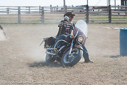 Dakota Kempf in the Cycle Source motorcycle rodeo games at the Spur Creek Ranch during the 78th annual Sturgis Motorcycle Rally. Sturgis, SD. USA. Wednesday August 8, 2018. Photography ©2018 Michael Lichter.