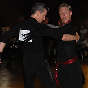 Gergely Darabos, left, of Budapest, Hungary, and his dance partner Pascal Herrbach, of Berlin, Germany, compete in the adult men's latin A division of the same-sex ballroom dancing competition during the 2007 Eurogames at the Waagnatie hangar in Antwerp, Belgium on July 13, 2007. ..Over 3,000 LGBT athletes competed in 11 sports, including same-sex dance, during the 11th annual European gay sporting event. Same-sex ballroom is a growing sports that has been happening in Europe for over two decades.