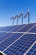 solar panel array under a blue sky near Yarroweyah, Victoria, Australia <br /> <br /> Editions:- Open Edition Print / Stock Image