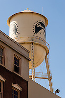 United States, California, Los Angeles. Paramount Pictures Corporation located at 5555 Melrose Avenue in Hollywood, the only film studio left in Hollywood. The Paramount water tower.