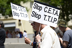 June 3, 2017 - Spain - Protesters demonstrate against the Transatlantic Trade and Investment Partnership (TTIP),  EU-Canada Comprehensive Economic and Trade Agreement (CETA) and Trade in Services Agreement (TISA) in downtown of Madrid. (Credit Image: © M. Ramirez/Pacific Press via ZUMA Wire)
