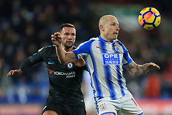 12th December 2017 - Premier League - Huddersfield Town v Chelsea - Aaron Mooy of Huddersfield battles with Daniel Drinkwater of Chelsea - Photo: Simon Stacpoole / Offside.