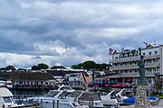 View of the Mackinac Island Harbor, Mackinac Island, Michigan, USA.