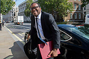 Kwasi Kwarteng MP, Minister of State at the Department of Business, Energy and Industrial Strategy arrives at the Cabinet office in Whitehall, London, United Kingdom on 20th August 2019.