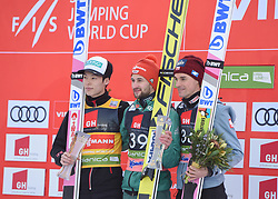March 22, 2019 - Planica, Slovenia - (From L) Second placed Ryoyu Kobayashi of Japan, winner Markus Eisenbichler of Germany and third placed Piotr Zyla of Poland are seen posing for photos on the podium after the FIS Ski Jumping World Cup Flying Hill Individual competition in Planica. (Credit Image: © Milos Vujinovic/SOPA Images via ZUMA Wire)