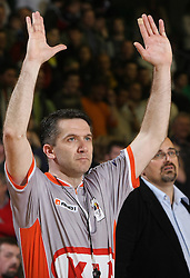 Referee during second semi-final match of Basketball NLB League at Final four tournament between KK Partizan Igokea, Beograd, Serbia and Union Olimpija, Ljubljana, Slovenia, on April 25, 2008, in Arena Tivoli in Ljubljana. Match was won by Partizan 94:90. (Photo by Vid Ponikvar / Sportal Images)