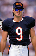 CHICAGO, IL-UNDATED:  Chicago Bear quarterback Jim McMahon is pictured on the sidelines during an NFL game at Soldier Field, Chicago, IL.  McMahon played for the Chicago Bears from 1982-1988.  (Photo by Ron Vesely)