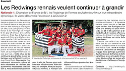 Rennes Redwings baseball team, Ouest France, 2013.