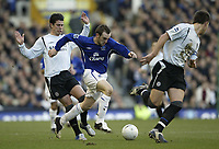 Photo: Aidan Ellis.<br /> Everton v Chelsea. The FA Cup. 28/01/2006.<br /> Everton's James McFadden cause problems in the Chelsea defence for Asier Del Horno and John Terry