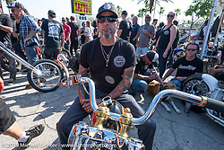 Xavier Muriel with Grace, his Harley-Davidson Pan-Shovel custom Chopper Time annual old school chopper show at Willie's Tropical Tattoo in Ormond Beach during Daytona Beach Bike Week, FL. USA. Thursday, March 14, 2019. Photography ©2019 Michael Lichter.