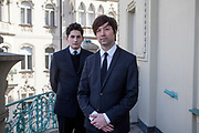 The director of the current project VRwandlung Mika Johnson (right) and Franz Kafka lookalike Marek Lentvorsky (21) portrayed on a balcony of the Goethe Institut.
