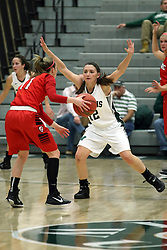 10 January 2015:  Erin Thomas defended by Amanda Kelly during an NCAA women's division 3 CCIW basketball game between the Carthage Reds and the Illinois Wesleyan Titans in Shirk Center, Bloomington IL