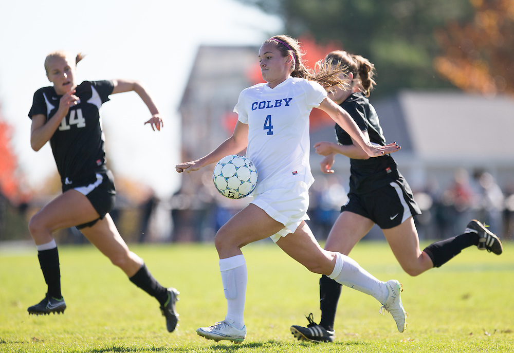 Ruthie Hawley, of Colby College, during a NCAA Division III women's soccer game on October 25, 2014 in Waterville, ME. (Dustin Satloff/Colby College Athletics)