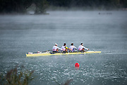 Aiguebelette, FRANCE,  GBR M4X, training in the mist, Bow Graeme THOMAS, Sam TOWNSENF, Charles COUSINS and Peter LAMBERT.   2015 FISA World Rowing Championships, Venue, Lake Aiguebelette - Savoie. <br /> <br /> Saturday  05/09/2015  [Mandatory Credit. Peter SPURRIER/Intersport Images]. © Peter SPURRIER, Atmospheric, Rowing