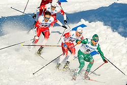 March 16, 2019 - Falun, SWEDEN - 190316  Sindre Bjørnestad Skar, Emil Iversen and Johannes Høsflot Klæbo of Norway in the Men's cross-country skiing sprint final during the FIS Cross-Country World Cup on march 16, 2019 in Falun  (Credit Image: © Daniel Eriksson/Bildbyran via ZUMA Press)