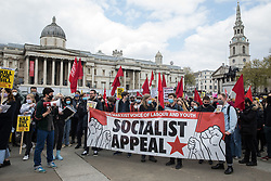 London, UK. 1st May, 2021. Supporters of Socialist Appeal, the newspaper of the British section of the International Marxist Tendency, attend a Kill The Bill demonstration as part of a National Day of Action to coincide with International Workers Day. Nationwide protests have been organised against the Police, Crime, Sentencing and Courts Bill 2021, which would grant the police a range of new discretionary powers to shut down protests.