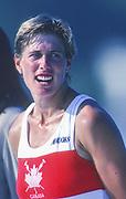 Barcelona Olympic Games 1992<br /> Olympic Regatta - Lake Banyoles<br /> Bronze Medalist, CAN W1X, Silken LAUMANN  on awards dock.; Women's Single Medals,  {Mandatory Credit: © Peter Spurrier/Intersport Images]