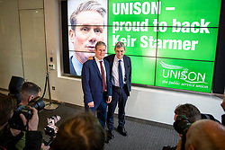 © Licensed to London News Pictures. 09/01/2020. London, UK. Sir Keir Starmer (L), the frontrunner in the race to become the next Leader of the Labour Party, and General Secretary of UNISON Dave Prentis. (R) at the offices of Unison. Unison has backed Keir Starmer as leader and Angela Rayner as deputy leader. Photo credit: Rob Pinney/LNP