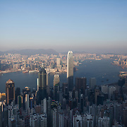 The view of Hong Kong from Victoria Peak. The tall building reflecting the sun is the International Commerce Centre which has 118 storeys. 7 million people live on 1,104km square, making it Hong Kong the most vertical city in the world.