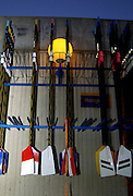 2005 FISA Team Cup, Rio Guadalquiver Rowing Course, Seville, SPAIN, 19.02.2005. Training Day; Oar racks, Photo  Peter Spurrier. .email images@intersport-images. Sunrise, Sunsets, Silhouettes , Equipment