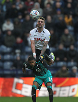 Preston North End's Patrick Bauer  jumps with Swansea City's Rhian Brewster<br /> <br /> Photographer Mick Walker/CameraSport<br /> <br /> The EFL Sky Bet Championship - Preston North End v Swansea City - Saturday 1st February 2020 - Deepdale Stadium - Preston<br /> <br /> World Copyright © 2020 CameraSport. All rights reserved. 43 Linden Ave. Countesthorpe. Leicester. England. LE8 5PG - Tel: +44 (0) 116 277 4147 - admin@camerasport.com - www.camerasport.com