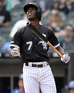 CHICAGO - APRIL 17:  Tim Anderson #7 of the Chicago White Sox watches the flight of his two-run home run in the fourth inning against the Kansas City Royals on April 7, 2019 at Guaranteed Rate Field in Chicago, Illinois.  (Photo by Ron Vesely) Subject: Tim Anderson