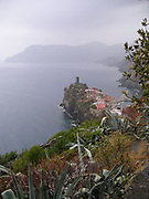 Vernazza Italy, This is a trail that connects the 5 cities. a view of Vernazza from the trail.