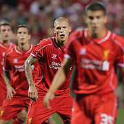 Martin Skrtel, (centre), Liverpool, in action during the Liverpool Vs AS Roma friendly pre season football match at Fenway Park, Boston. USA. 23rd July 2014. Photo Tim Clayton