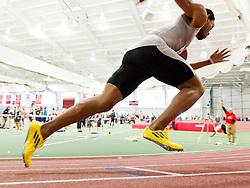 Boston University Terrier Classic Indoor Track Meet, sprinter explodes from blocks