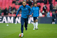 Spurts Harry Kane (10) warms up during the The FA Cup 3rd round match between Tottenham Hotspur and AFC Wimbledon at Wembley Stadium, London, England on 7 January 2018. Photo by Robin Pope.