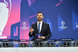 NYON, SWITZERLAND - Monday, December 14, 2020: Presenter Pedro Pinto during the UEFA Champions League 2020/21 Round of 16 draw at the UEFA Headquarters, the House of European Football. (Photo Handout/UEFA)