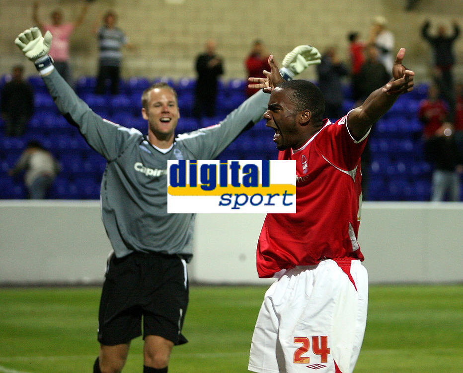 Photo: Paul Thomas.<br /> Chester City v Nottingham Forest. The Carling Cup. 14/08/2007.<br /> <br /> Keeper Paul Smith (L) and winning penalty taker Emile Sinclair (24) celebrate Forests win in a penalty shoot-out.