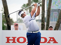 February 28, 2019 - Florida, U.S. - Kiradech Aphibarnrat tees off on Hole 4 during the frist round of the Honda Classic Thursday, February 28, 2019 at the PGA National Resort & Spa in Palm Beach Gardens. (Credit Image: © Bruce R. Bennett/The Palm Beach Post via ZUMA Wire)