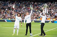 Real Madrid's Marcelo, Cristiano Ronaldo and Sergio Ramos during La Liga match between Real Madrid and Valencia CF at Santiago Bernabeu Stadium in Madrid, Spain August 27, 2017. (ALTERPHOTOS/Borja B.Hojas)