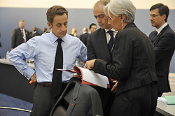 File Photo - French President Nicolas Sarkozy speaks with French Minister for the Economy, Finance and Employment Christine Lagarde at the convention center during the Pittsburgh G20 Summit in Pittsburgh, Pennsylvania, USA on September 25, 2009. The European Council announced Tuesday that Lagarde, the current head of the International Monetary Fund, had been chosen to succeed Mario Draghi as president of the European Central Bank,, whose eight-year term ends in October. Photo by Elodie Gregoire/ABACAPRESS.COM