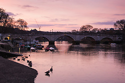 Richmond, London, February 17th 2016. The delicate hues of the sky are reflected in the water as dawn breaks over the River Thames. <br /> ///FOR LICENCING CONTACT: paul@pauldaveycreative.co.uk TEL:+44 (0) 7966 016 296 or +44 (0) 20 8969 6875. ©2015 Paul R Davey. All rights reserved.