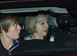 © Licensed to London News Pictures. 08/02/2016. London, UK. THERESA MAY leaves the The Brewery in London after the annual Conservative Party Black & White Ball, a Conservative Party fundraiser.  Photo credit: Ben Cawthra/LNP