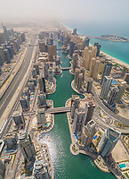 Aerial view of Dubai Marina and the cityscape with skyscrapers, UAE.