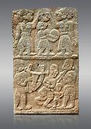 Pictures & images of the North Gate Hittite sculpture stele depicting musicians playing instruments. 8the century BC.  Karatepe Aslantas Open-Air Museum (Karatepe-Aslantaş Açık Hava Müzesi), Osmaniye Province, Turkey. Against grey background