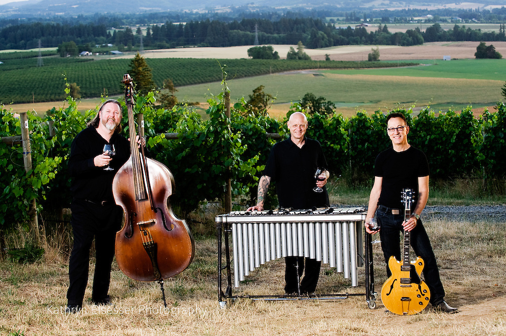 Jazz Musicians and  members of HERTrio in the Carlton Cellars Vineyard in Carlton, Oregon With A glass of 2012 Carlton Cellar Reserve Pinot Noir