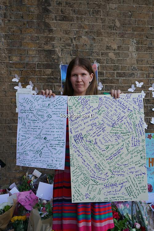 Amazing Leila Christopher asking hundreds of People to write a message to the Finsbury Park in London on June 20, 2017 after a van attack in the area killed one and injured ten. Police are investigating the incident as an act of terror.