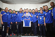 Alex Ollier meets the Rochdale team pre-match during the Sky Bet League 1 match between Rochdale and Blackpool at Spotland, Rochdale, England on 16 April 2016. Photo by Daniel Youngs.