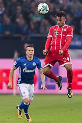 (L-R) Yevhen Konoplyanka of FC Schalke 04, Corentin Tolisso of FC Bayern Munich during the Bundesliga match between Schalke 04 and Bayern Munich on September 19, 2017 at the VELTINS-Arena in Gelsenkirchen, Germany