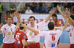 Players of Beauvais Oise celebrate at volleyball match of CEV Indesit Champions League Men 2008/2009 between ACH Volley Bled (SLO) and Beauvais Oise (FRA), on December 11, 2008 in Hala Tivoli, Ljubljana, Slovenia. (Photo by Vid Ponikvar / Sportida)