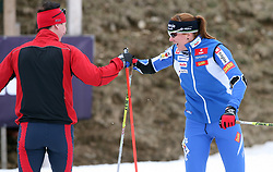 Czech cross-country skier Lukas Bauer (the best in 2007/2008 season in the world) and Slovenian cross-country skier Petra Majdic at Alpina presentation of new cross-country shoes with red dot award: product design, on April 24, 2008, in Pokljuka, Rudno polje, Slovenia.  (Photo by Vid Ponikvar / Sportal Images)/ Sportida)