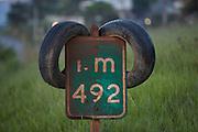 Sao Joaquim de Bicas_MG, Brazil.<br /> <br /> Placa degradada em um rodovia  na rodovia BR 381 em Sao Joaquim de Bicas.<br /> <br /> The degraded sign in the highway BR 381 in Sao Joaquim de Bicas.<br /> <br /> Foto: LEO DRUMOND / NITRO